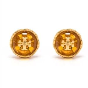 Tory Burch amber, red & gold toned earrings